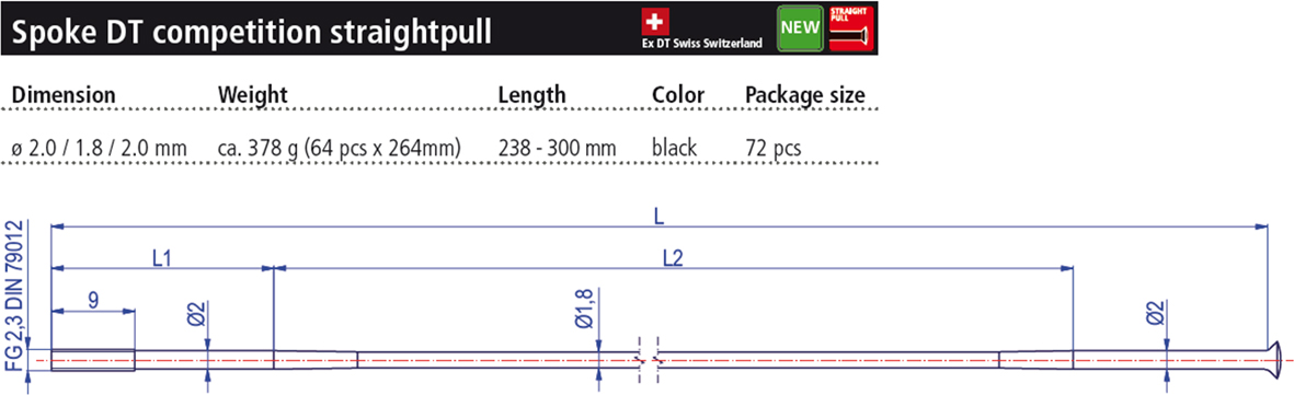 DT Swiss Competition Straight Pull 296mm Spoke with Nipple - Black
