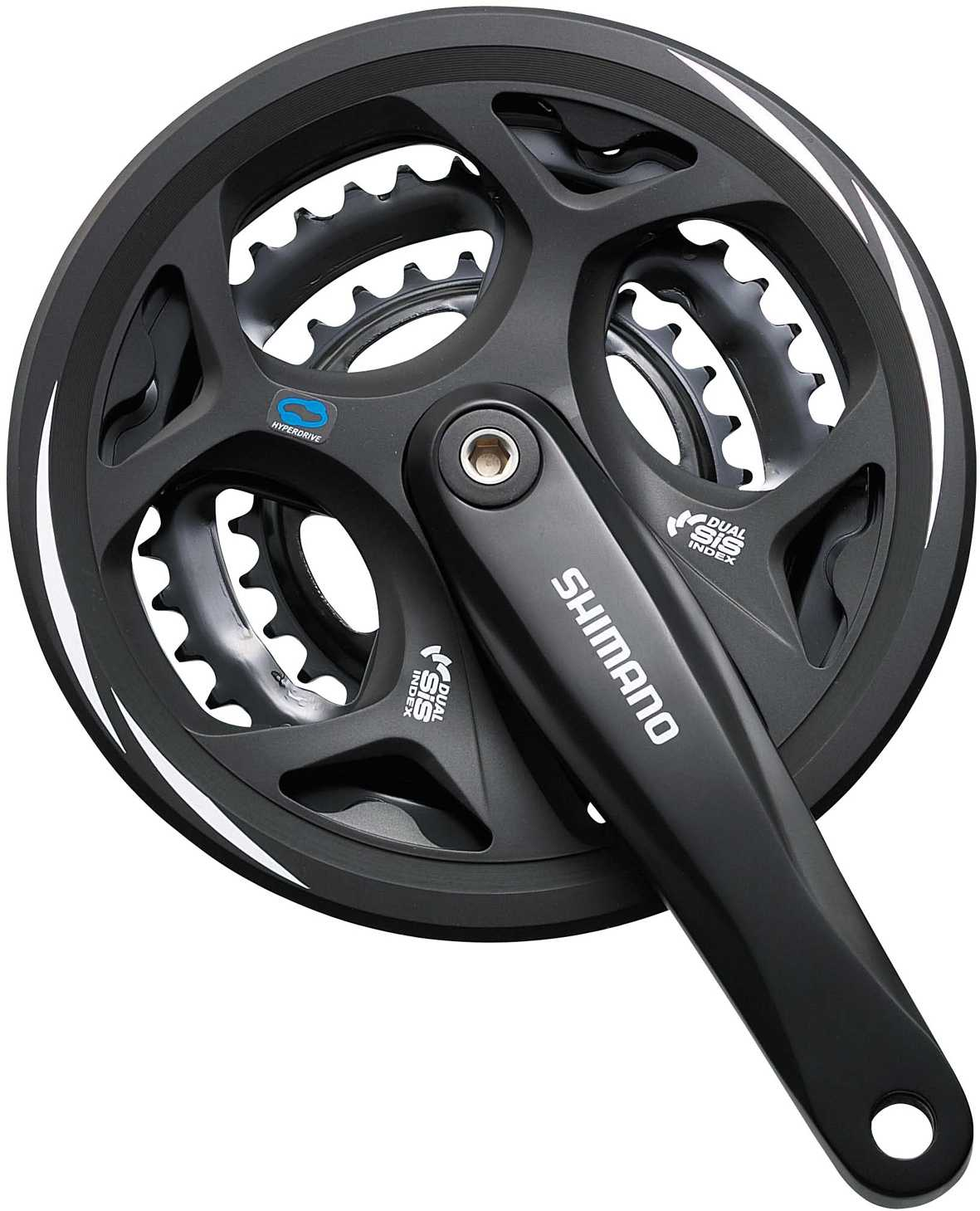 Shimano Altus M311 8 Speed 48/38/28 Square Taper 170mm Chainset with chainguard - Black