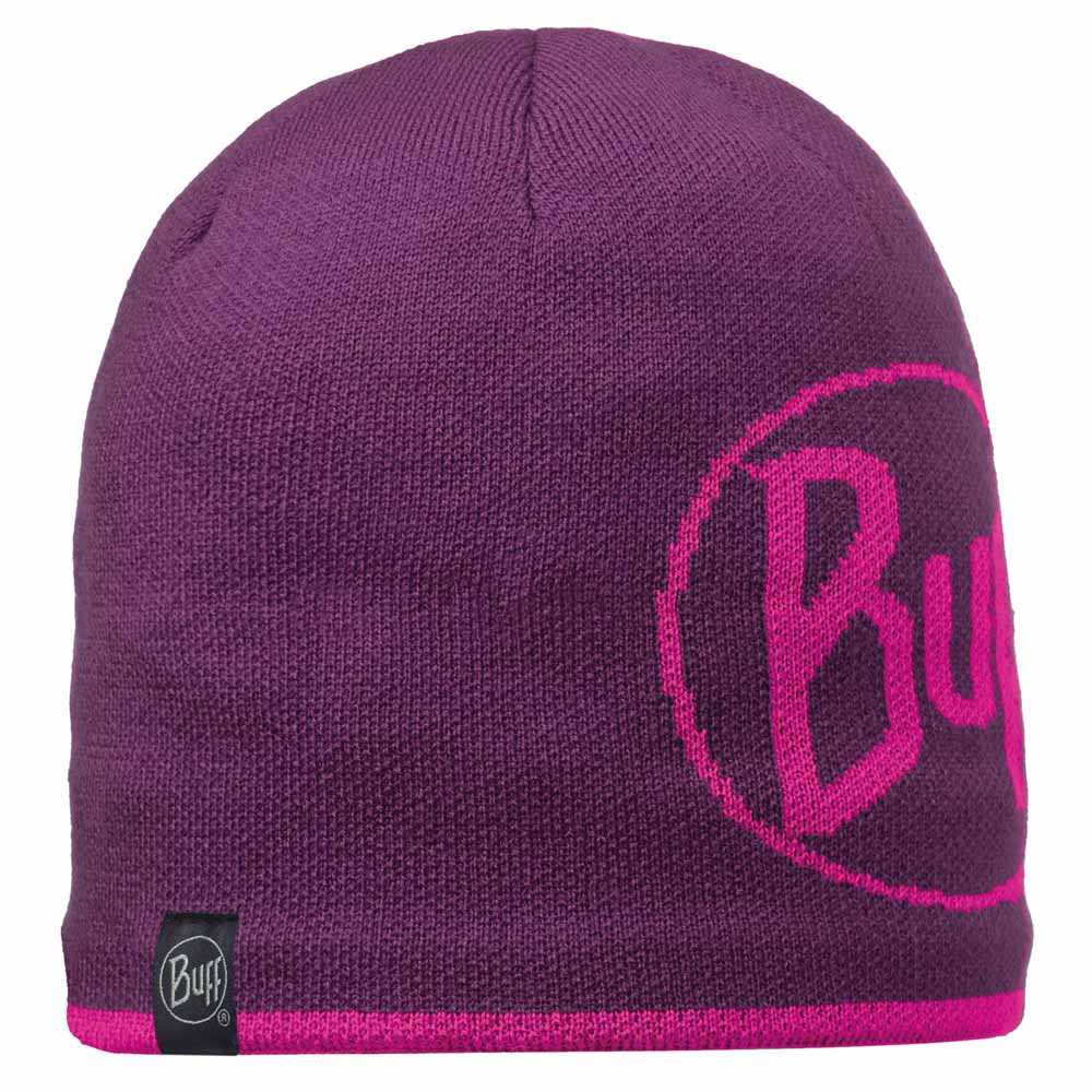 Buff Knitted Polar Hat - Logo Plum