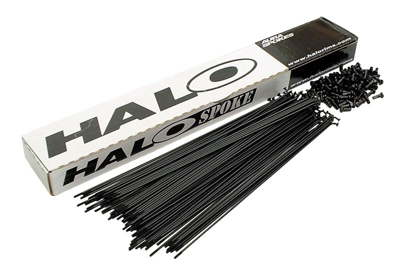 Halo Plain Gauge 250mm Spoke with Nipple - Black