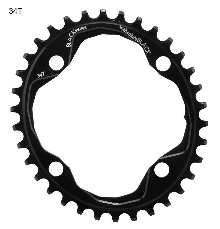 Absolute Black Narrow Wide Oval Chainring - 36 Tooth - Black