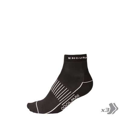Endura Coolmax Race II Socks (Triple Pack) - Large/XL - Black