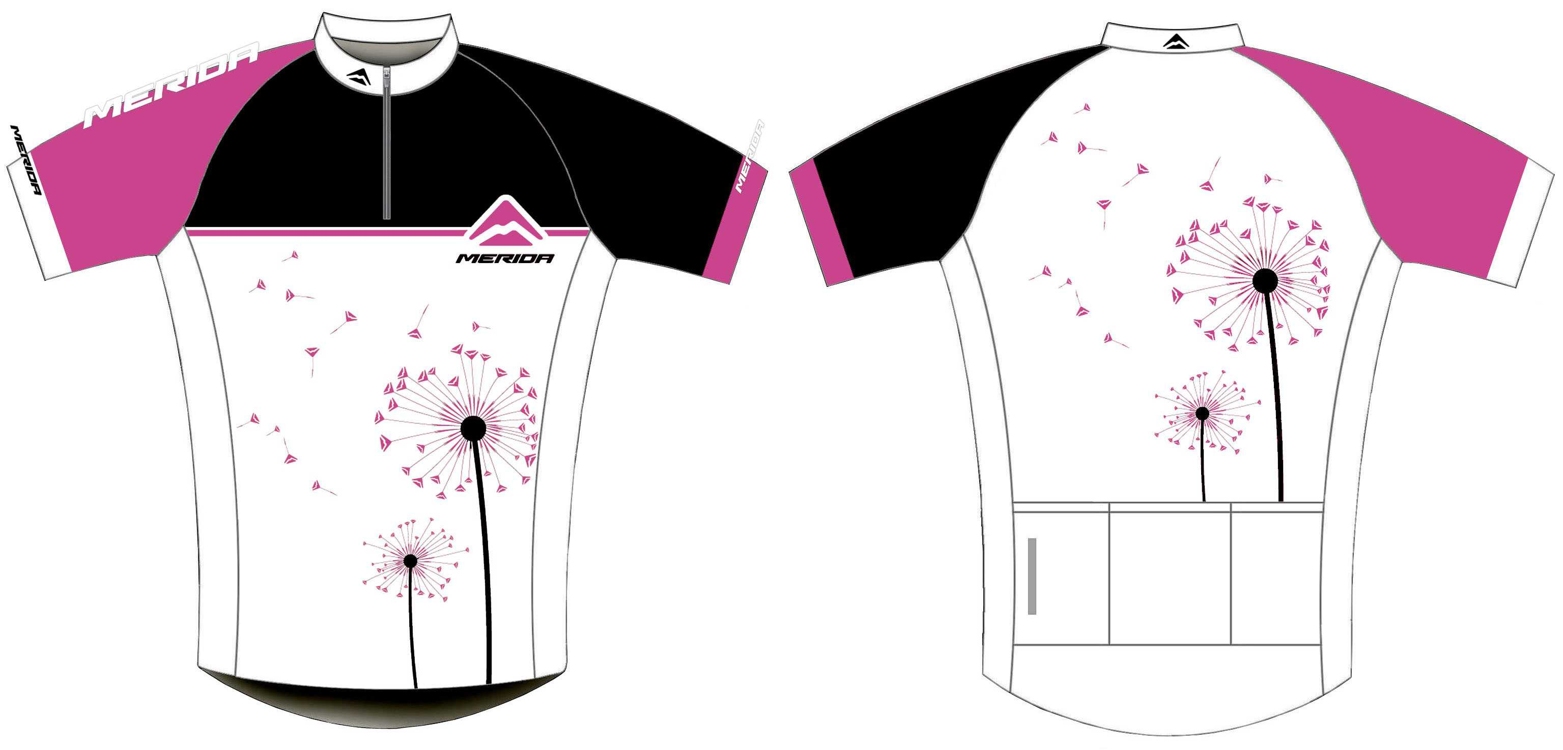 Merida Pink Dandelion Womens Short Sleeve Jersey - Small - White/Pink