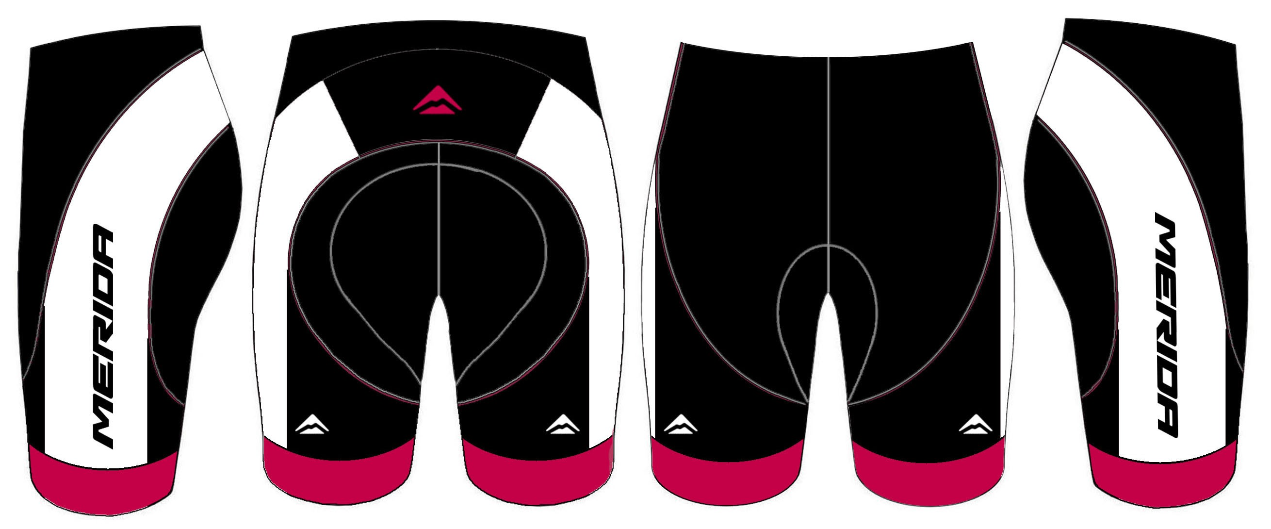 Merida Rouge Womens Shorts with Carina Pad 2015 - XS - Black/White/Pink
