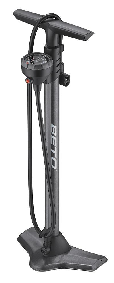 Beto Blaze Alloy Track Pump with Gauge - Black
