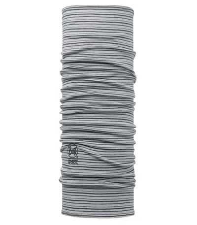 Buff Merino Wool Neck Warmer - Light Grey Stripes